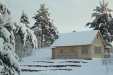 Коттедж Русский Дом, внешний вид зимой
