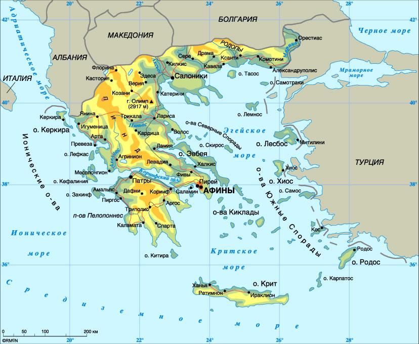 Карта Греции, острова и курорты